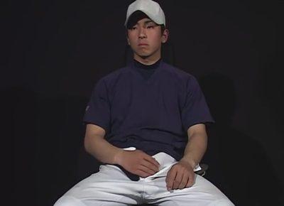 【ゲイ動画】終始トロ顔の体育会系野球部員がローション手コキでイカされてからAFで犯されザーメンを口内に注がれることに!