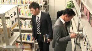 図書館_スーツリーマン_ハッテン_顔射_ゲイ画像1