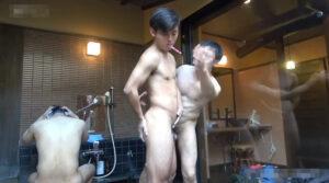 温泉で時間停止_顔射_イケメン_AF_ゲイ画像1